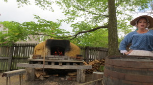 This is an example of the bread oven they used to feed the workers. Due to all the recent rain, today it is just being burned to dry out the bricks inside,